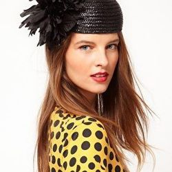 """<a href=""""http://us.asos.com/Catarzi/Catarzi-Exclusive-to-Asos-Pillbox-Leaf-Hat/Prod/pgeproduct.aspx?iid=2077038&SearchQuery=hat&Rf-700=1000&sh=0&pge=0&pgesize=200&sort=-1&clr=Black""""> Catazari for Asos pillbox leaf hat,</a> $63.63, asos.com"""