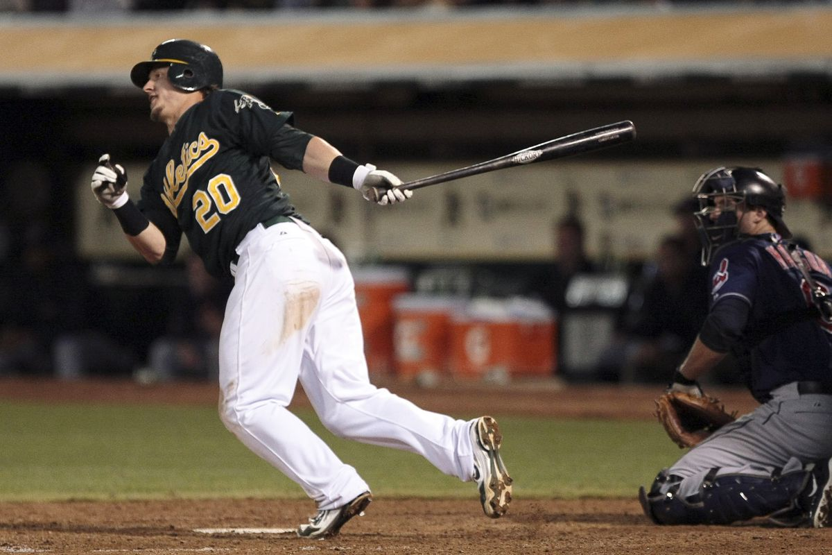Unlike in his previous stint in Oakland, this photo was preceded by Donaldson making contact with the ball.