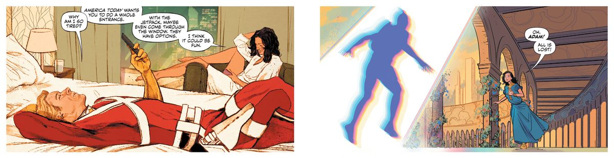 """Adam Strange lies on a hotel bed in his costume and discusses an imminent talk show appearance with his wife, Alanna, drawn by Mitch Gerads. In the second panel, drawn by Evan """"Doc"""" Shaner, he arrives on a ivy-grown balcony on Rann in the blur of a Zeta-Beam, Alanna dashing up to him shouting """"Oh, Adam! All is lost!"""" in Strange Adventures #1, DC Comics (2020)."""