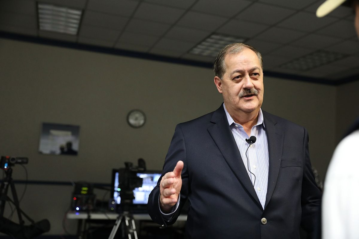 Republican candidate for US Senate Don Blankenship speaks at a town hall meeting at West Virginia University on March 1, 2018 in Morgantown, West Virginia.