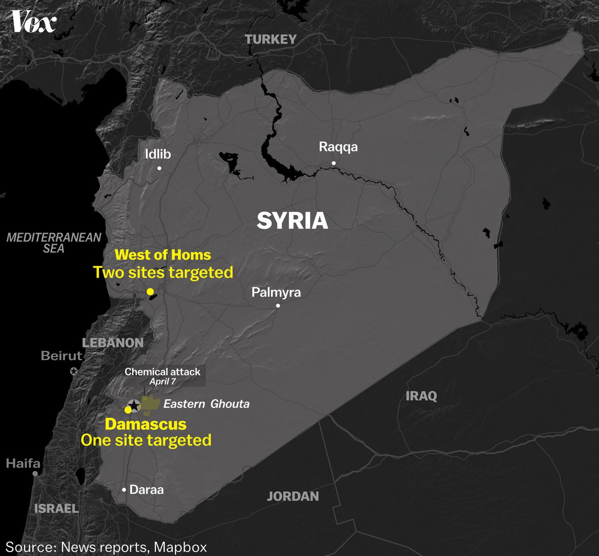 Map of Syria and targets the US, Britain, and France hit on April 13.