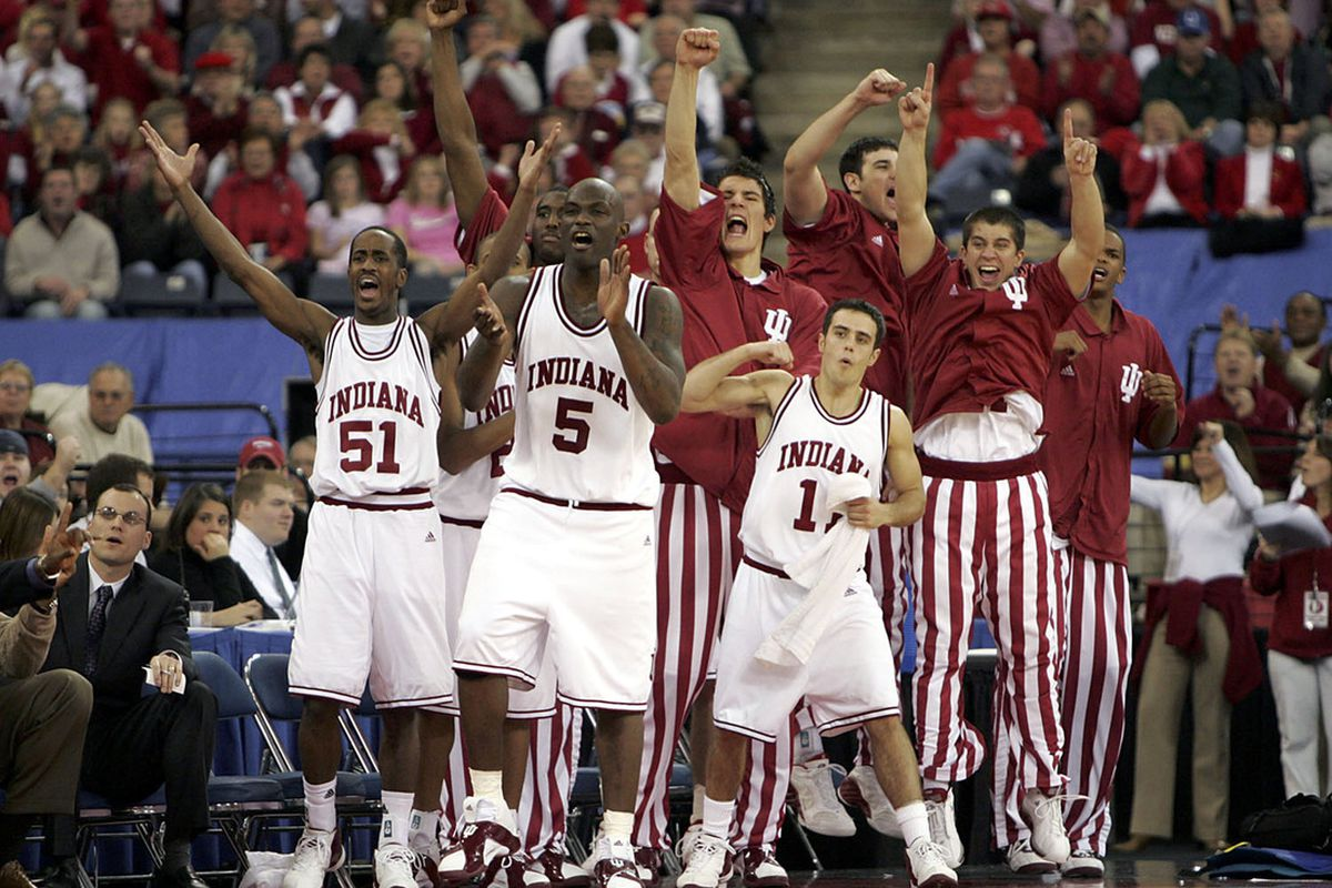 The IU bench celebrates one of IU's few recent wins over Kentucky (this is from December 2005).  (used with permission via Getty Images subscription).