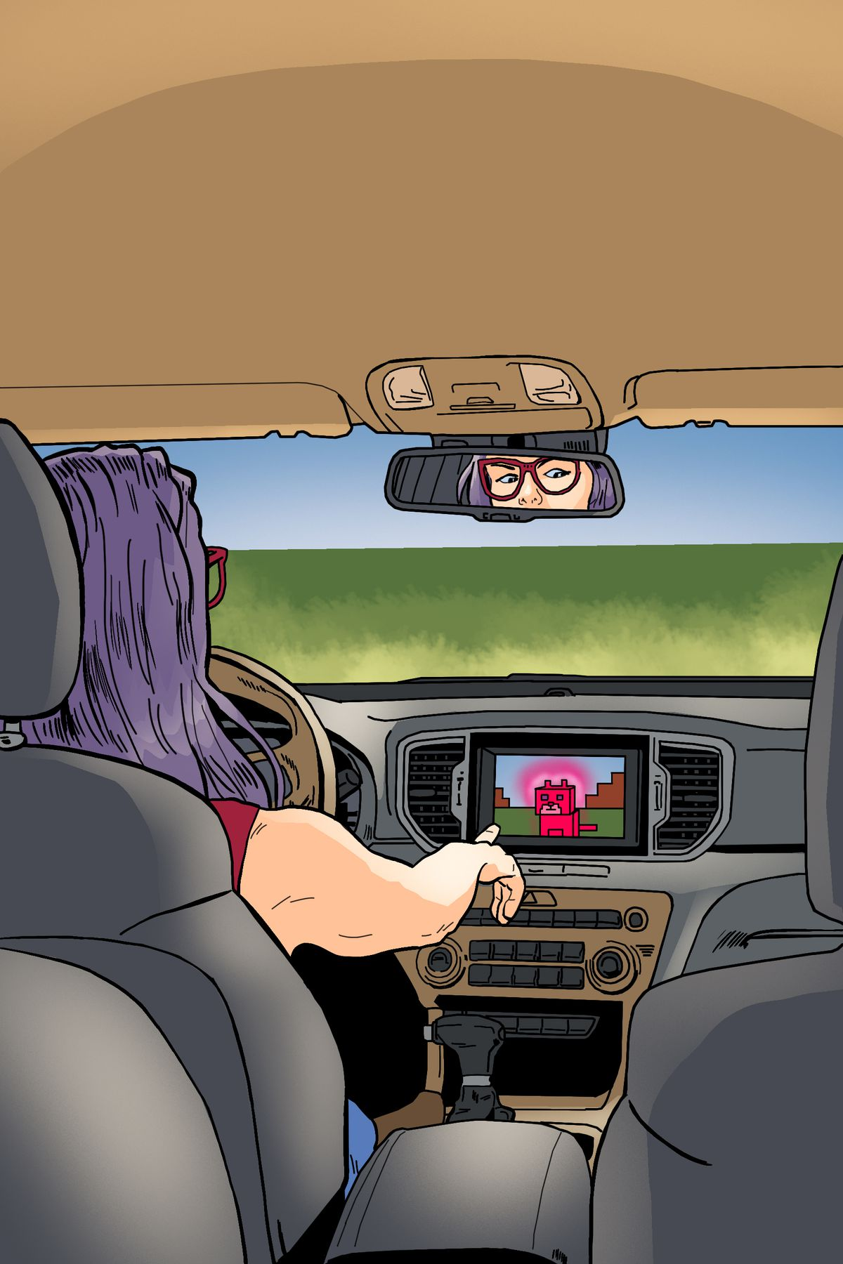 Inside a parked car, a gamer taps the touchscreen on the center console, interacting with a game featuring a blocky pink cat.