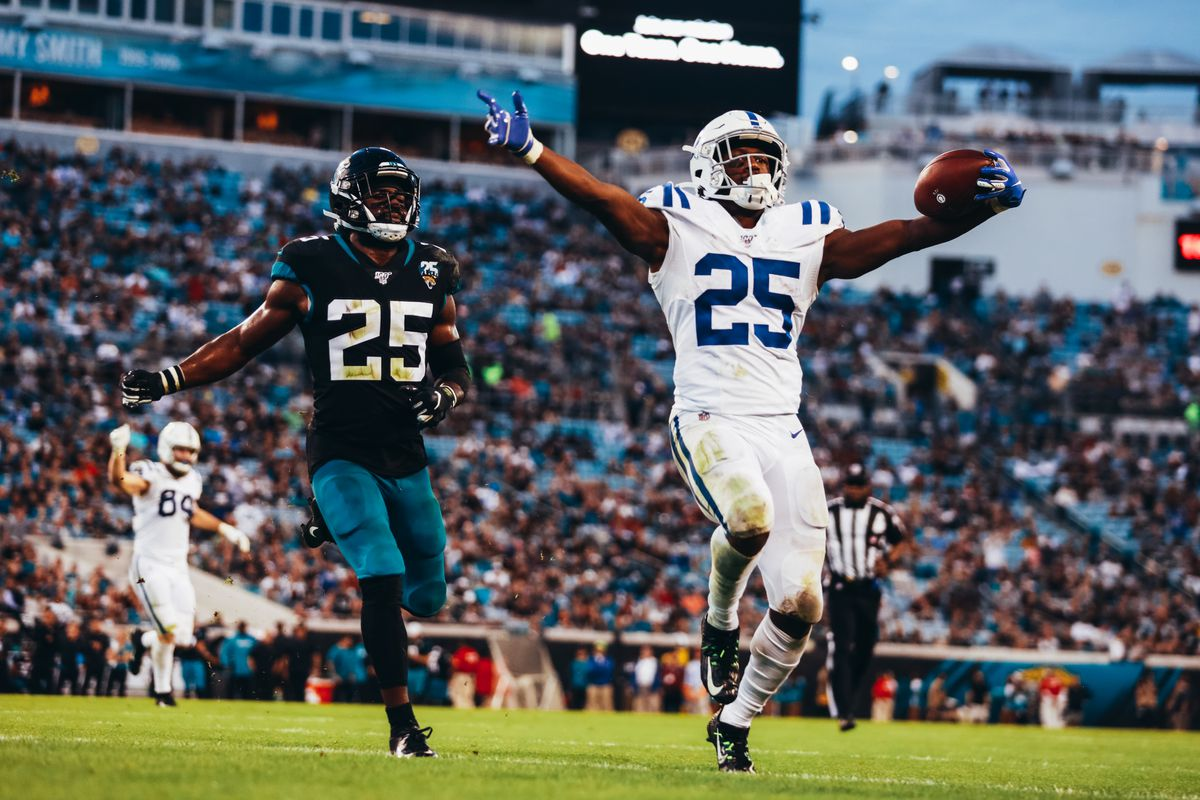 Marlon Mack of the Indianapolis Colts scores a touchdown against the Jacksonville Jaguars in the second quarter at TIAA Bank Field on December 29, 2019 in Jacksonville, Florida.