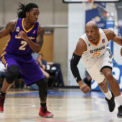 Salt Lake City Stars guard Sundiata Gaines (15) drives down court against Los Angeles D-Fenders guard Kenneth Smith (2) at the Lifetime Activities Center in Taylorsville on Wednesday, Feb. 08, 2017.