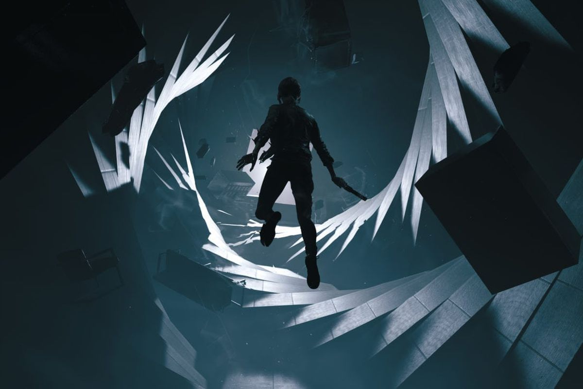 A woman floats in a twisting hallway