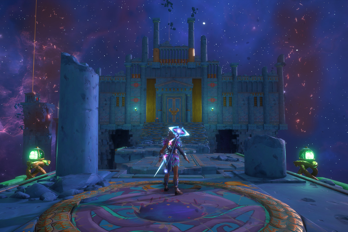 The main character of Immortals Fenyx Rising stands at a gate