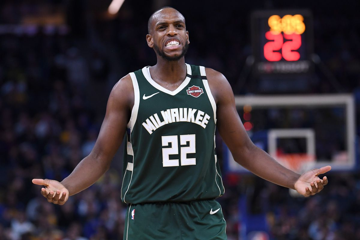 Khris Middleton of the Milwaukee Bucks reacts after being called for a foul against the Golden State Warriors during the second half of an NBA basketball game at Chase Center on January 08, 2020 in San Francisco, California.