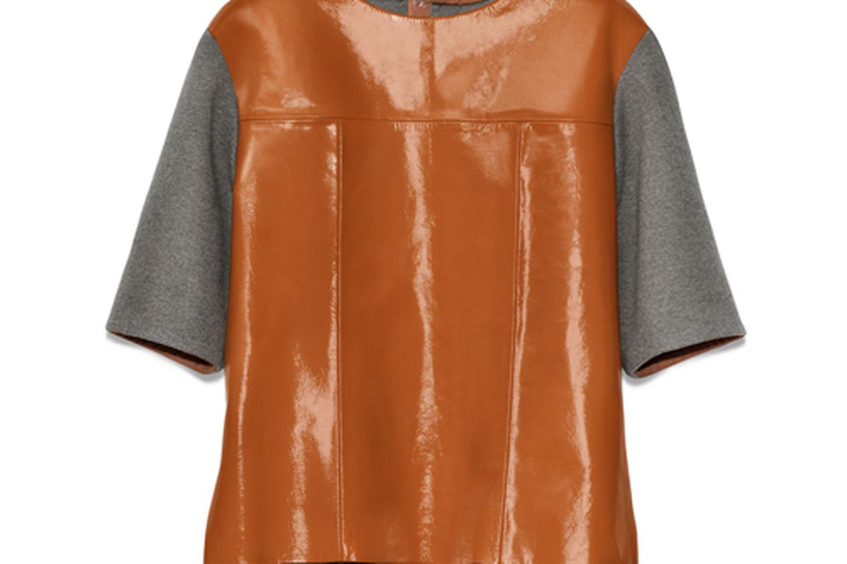 """Marni for H&amp;M patent leather top. Photo via <a href=""""http://racked.com/archives/2012/02/21/behold-50-printspirational-looks-from-marni-for-hm.php"""">Racked National</a>"""