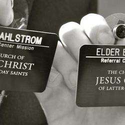 Name tags of the two Elders who taught Morong online.