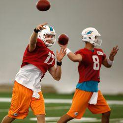 Jul 21, 2013; Davie, FL, USA;  Miami Dolphins quarterback Ryan Tannehill (17) and Miami Dolphins quarterback Matt Moore (8) during  training camp at the Doctors Hospital Training Facility at Nova Southeastern University.