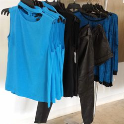 cobalt blue silk tops ($75), leather pants and shorts, sweaters, yes!
