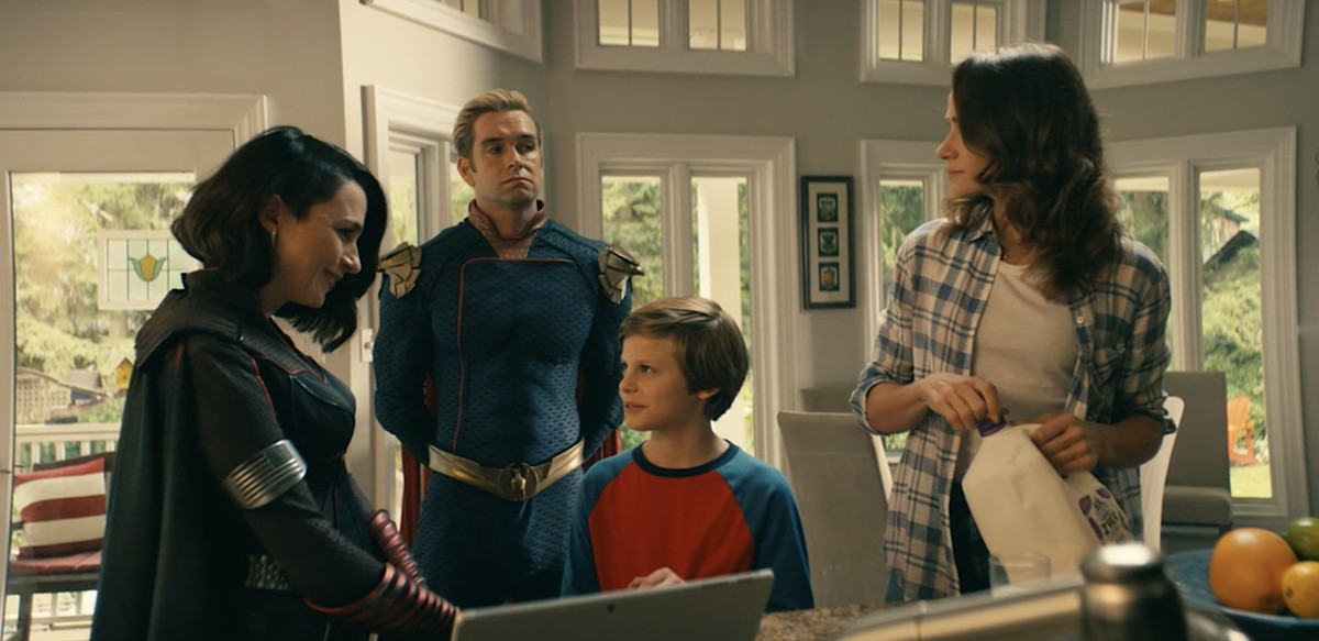 Homelander, his son Ryan, his Nazi girlfriend Stormfront, and Ryan's mother have a tense get-together in The Boys
