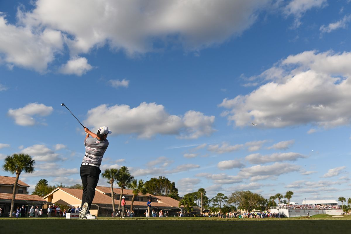 Sungjae Im of South Korea swings over his ball on the 15th tee during the final round of The Honda Classic at PGA National Champion course on March 1, 2020 in Palm Beach Gardens, Florida.