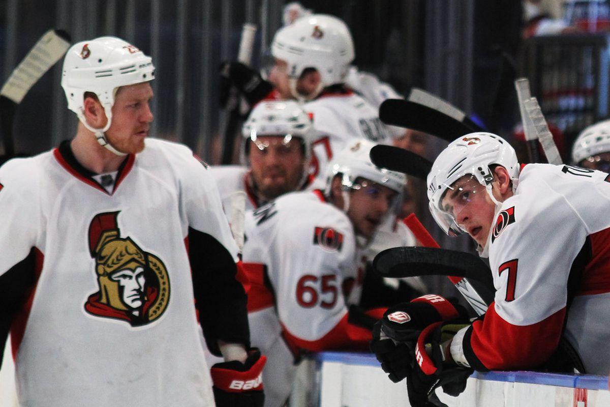 Chris Neil, shown here blaming Kyle Turris for the Senators' Game 7 loss to the New York Rangers.