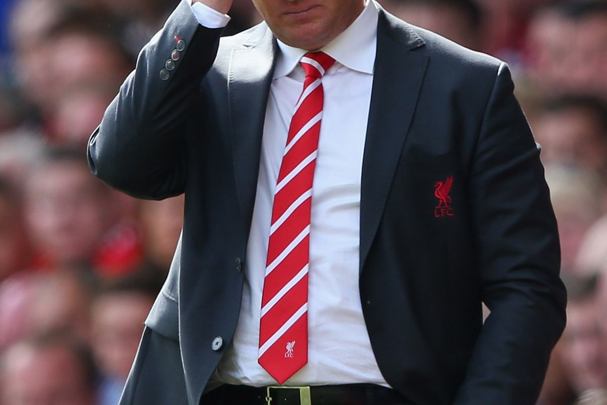 LIVERPOOL, ENGLAND - SEPTEMBER 02:  Brendan Rodgers the manager of Liverpool looks on during the Barclays Premier League match between Liverpool and  Arsenal at Anfield on September 2, 2012 in Liverpool, England.  (Photo by Alex Livesey/Getty Images)