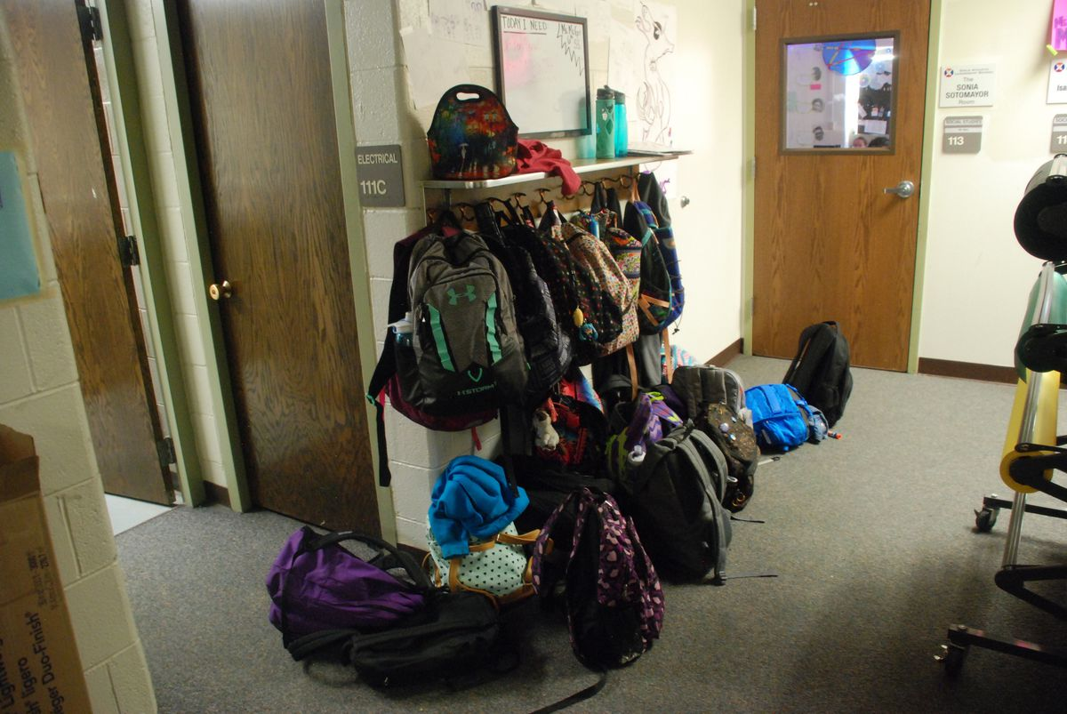 GALS students store their backpacks in the hallway because the school doesn't have enough lockers. (Photo by Melanie Asmar)