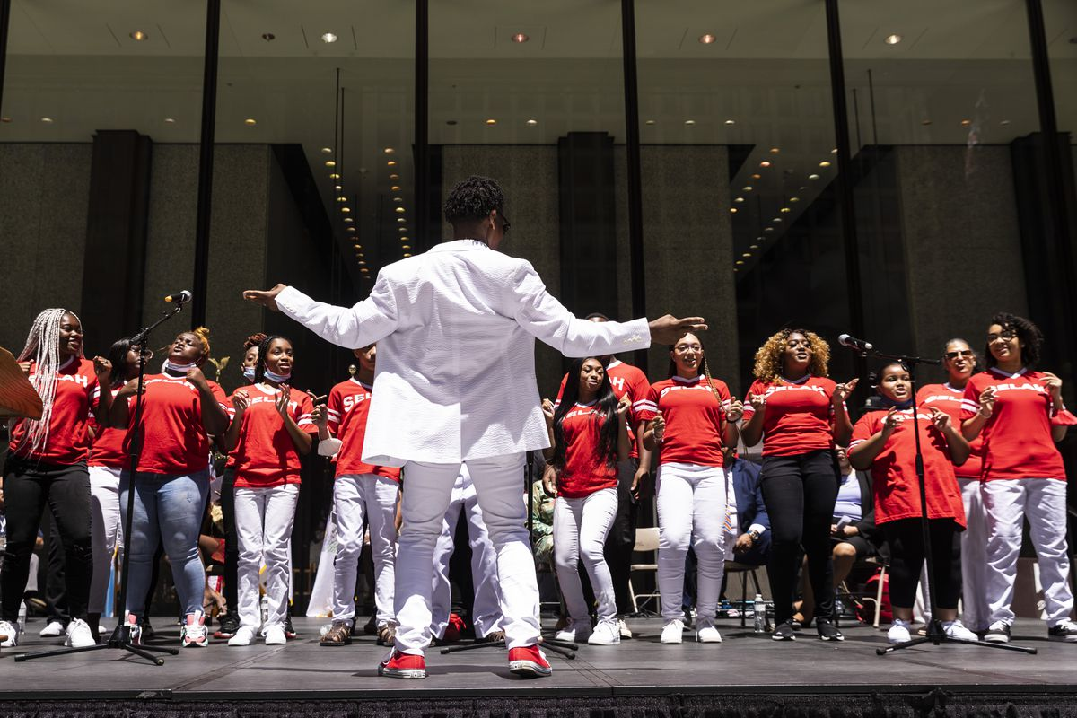 Sam Williams & Selah St. Sabina Youth Choir perform during a news conference about Juneteenth in Daley Plaza in the Loop, Wednesday afternoon, June 16, 2021.   Ashlee Rezin Garcia/Sun-Times
