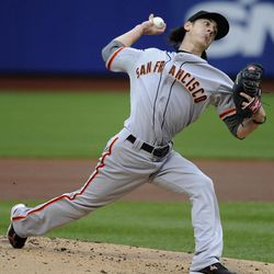 San Francisco Giants starting pitcher Tim Lincecum throws against the New York Mets in the first inning of the first game of baseball doubleheader Monday, April 23, 2012, in New York.