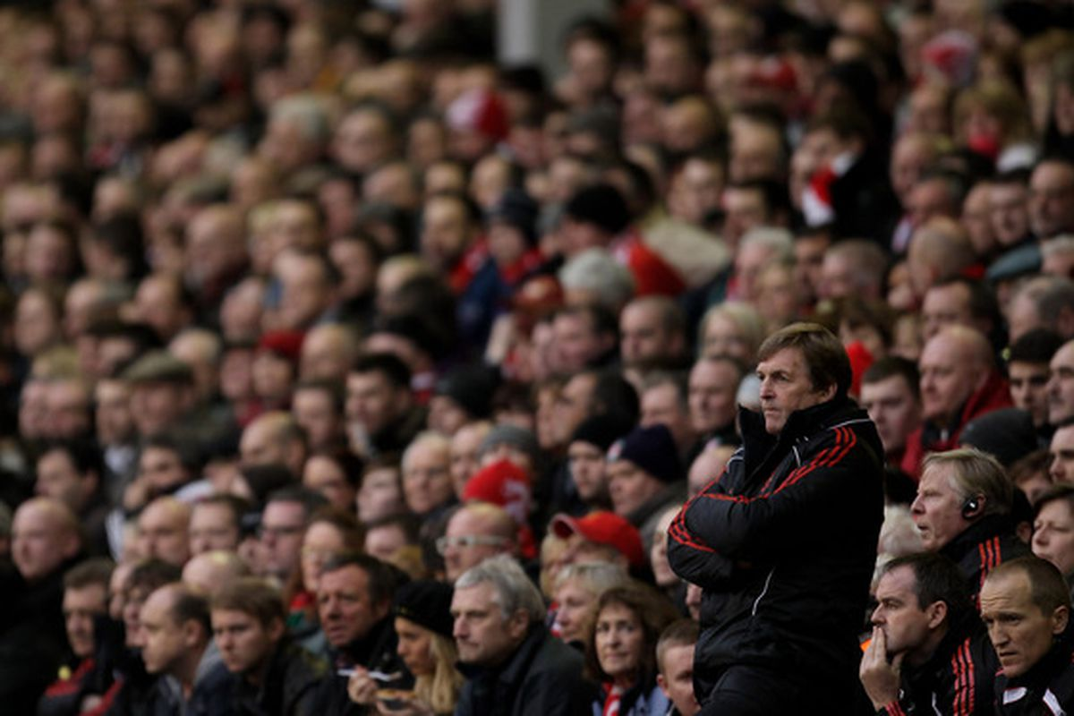 LIVERPOOL ENGLAND - JANUARY 16:  Liverpool Manager Kenny Dalglish looks on during the Barclays Premier League match between Liverpool and Everton at Anfield on January 16 2011 in Liverpool England.  (Photo by Alex Livesey/Getty Images)