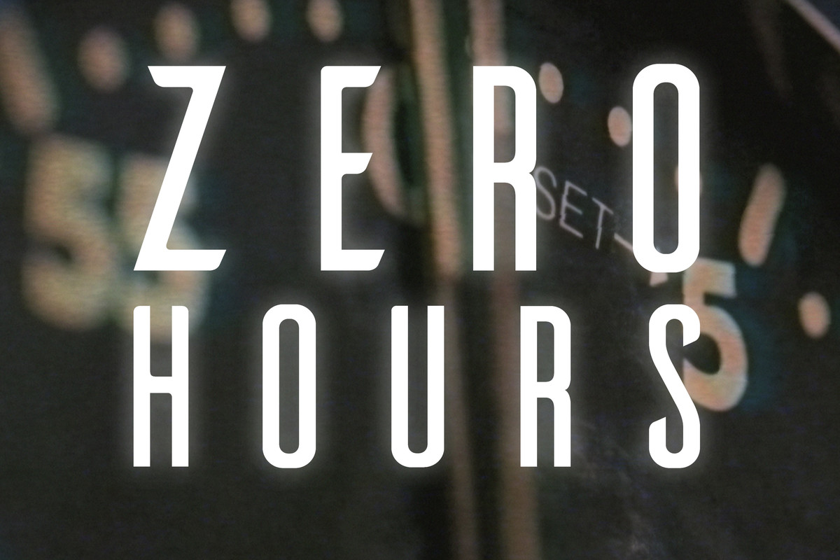 Zero Hours' logo is the show's title over a watch.
