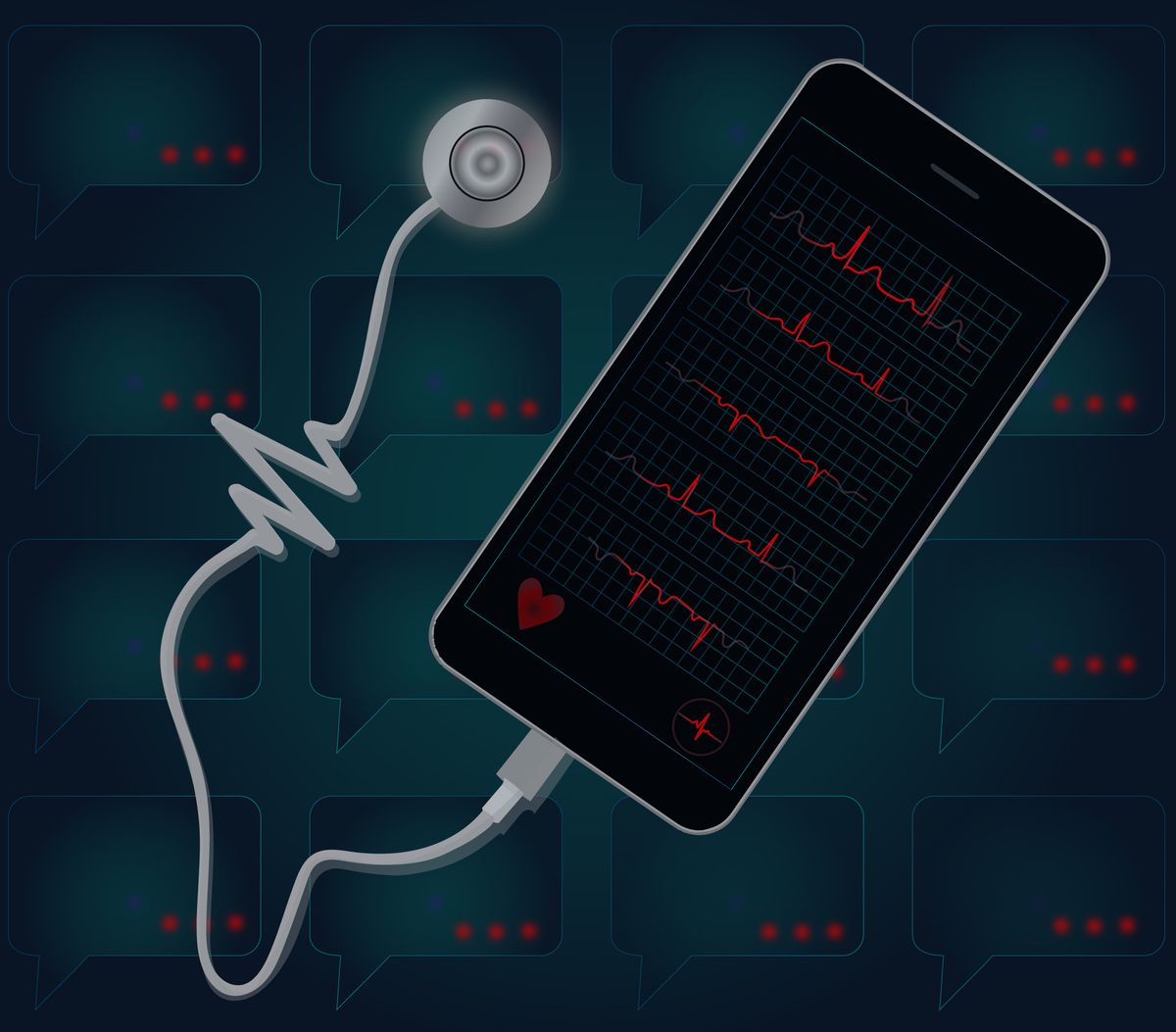 An illustration of a stethoscope attached to a cell phone.