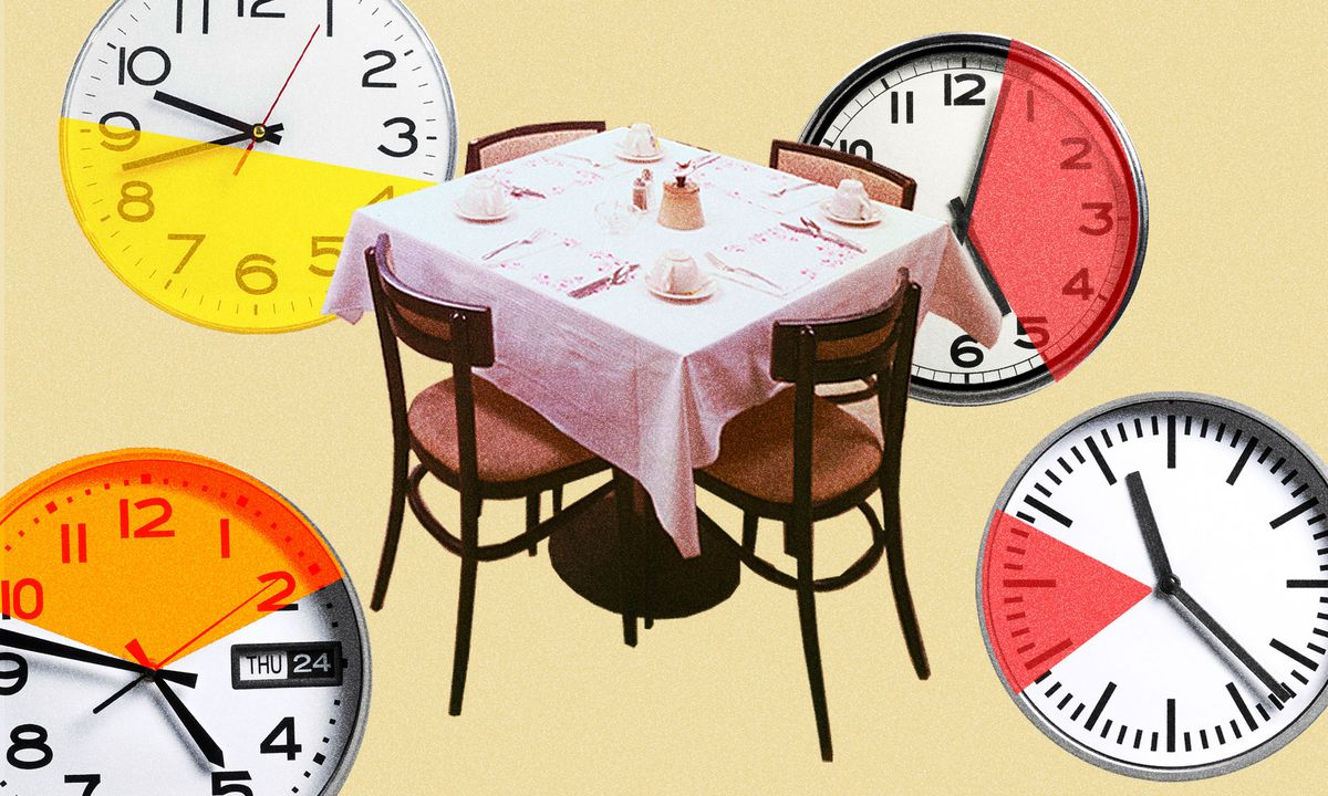 Illustration of a restaurant table surrounded by four clocks each showing different stretches of time.