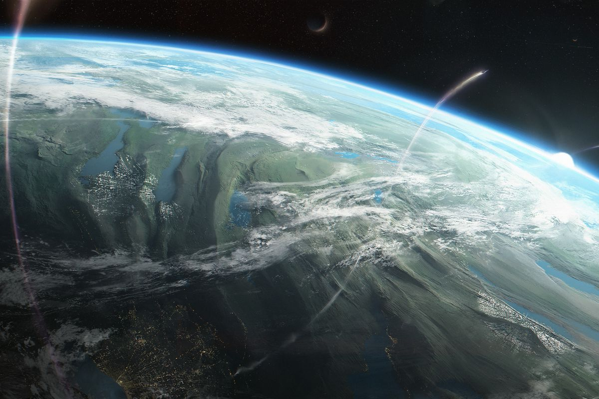A verdant blue planet backed by a blue white star. Ships rise from a bright city on the surface.