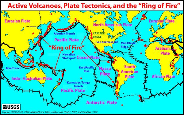 Volcanoes and earthquakes the pacific ring of fire is very active a map of tectonic plates and active volcanoes red dots us geological survey gumiabroncs Images