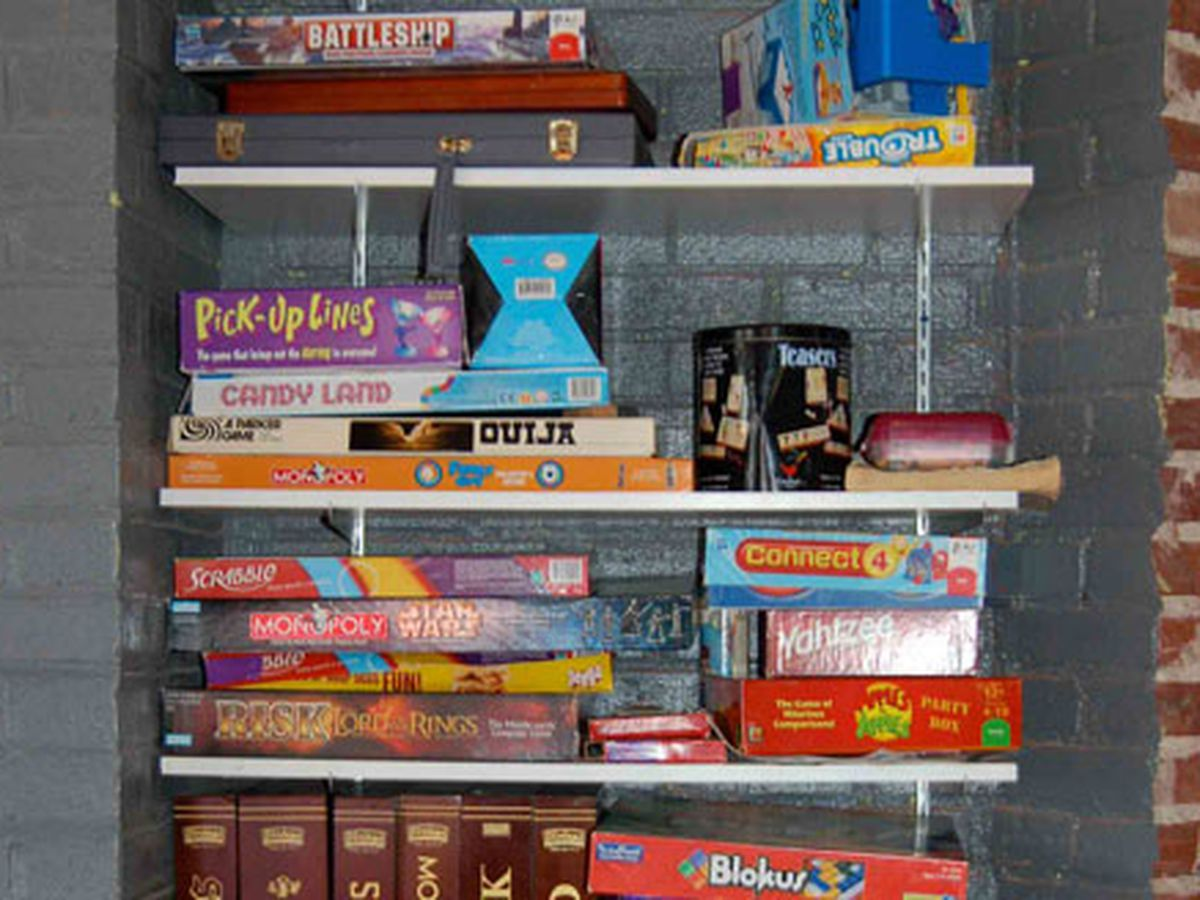 The board game shelf at Diesel Filling Station.
