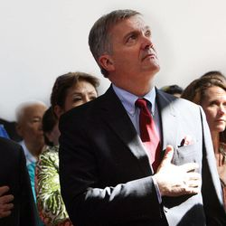 Rep. Jim Matheson participates in the flag ceremony during a Memorial Day Chapel ceremony at Camp Williams, Monday, May 27, 2013. Matheson announced on Tuesday, Dec. 17, 2013, that he will not seek re-election in 2014.