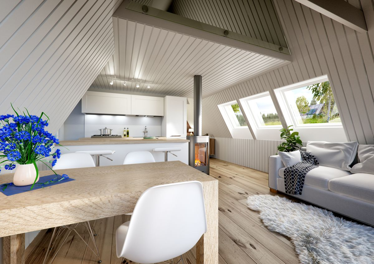 A frame house kits offer affordability and quick build time curbed the interior of the duo model by avrame one of the mid size kit homes solutioingenieria Image collections