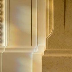 Ogden Utah Temple interior stone detail with morning sun.