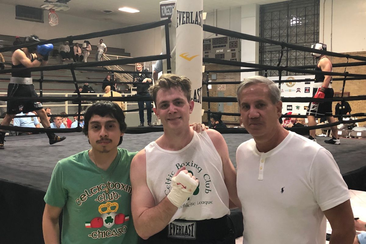 Jorge Alvarado, Brendan McClorey and Mike Joyce at the 2020 Golden Gloves tournament before its cancellation.