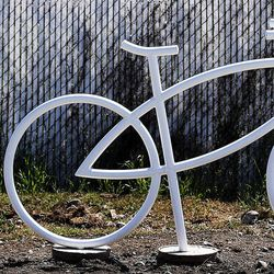 A ghost bike memorial is in place in honor of Douglas Crow in Provo, Wednesday, May 20, 2015. Crow was an avid cyclist who died Feb. 13, 2013.