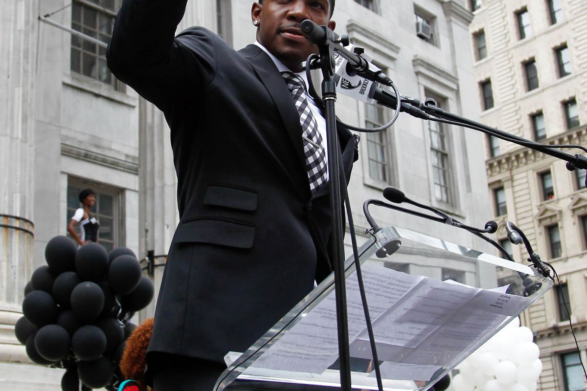 July 13, 2012; Brooklyn, NY, USA; Brooklyn Nets guard Joe Johnson addresses the public at a pep rally for the Brooklyn Nets at Brooklyn Borough Hall. Mandatory Credit: Debby Wong-US PRESSWIRE