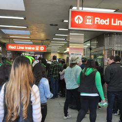 St. Patrick's Day revelers at the Addison L stop -