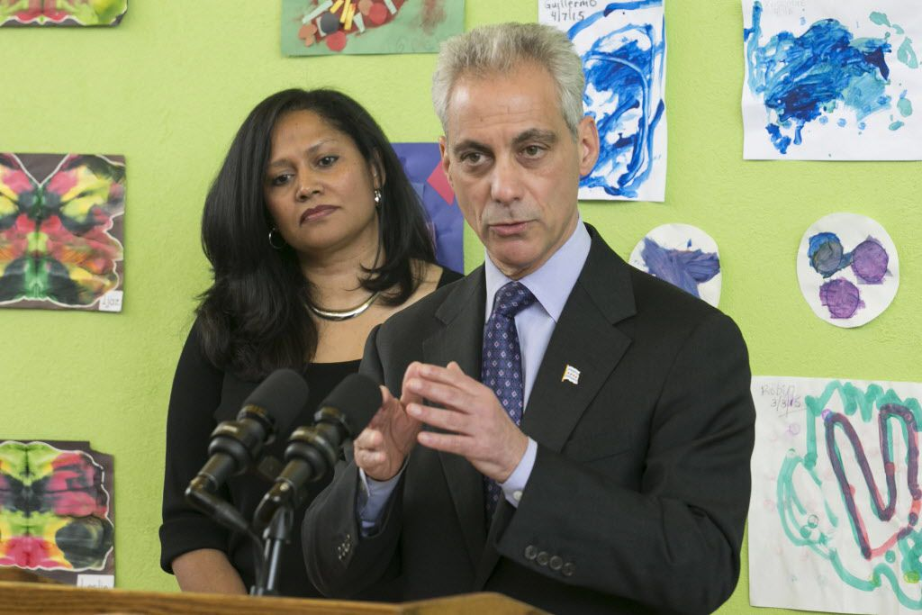 Mayor Rahm Emanuel speaks at a press conference at the Carole Robertson Center for Learning, the day after winning reelection in Chicago's first-ever mayoral runoff election, on April 8, 2015.   Ashlee Rezin   Sun-Times