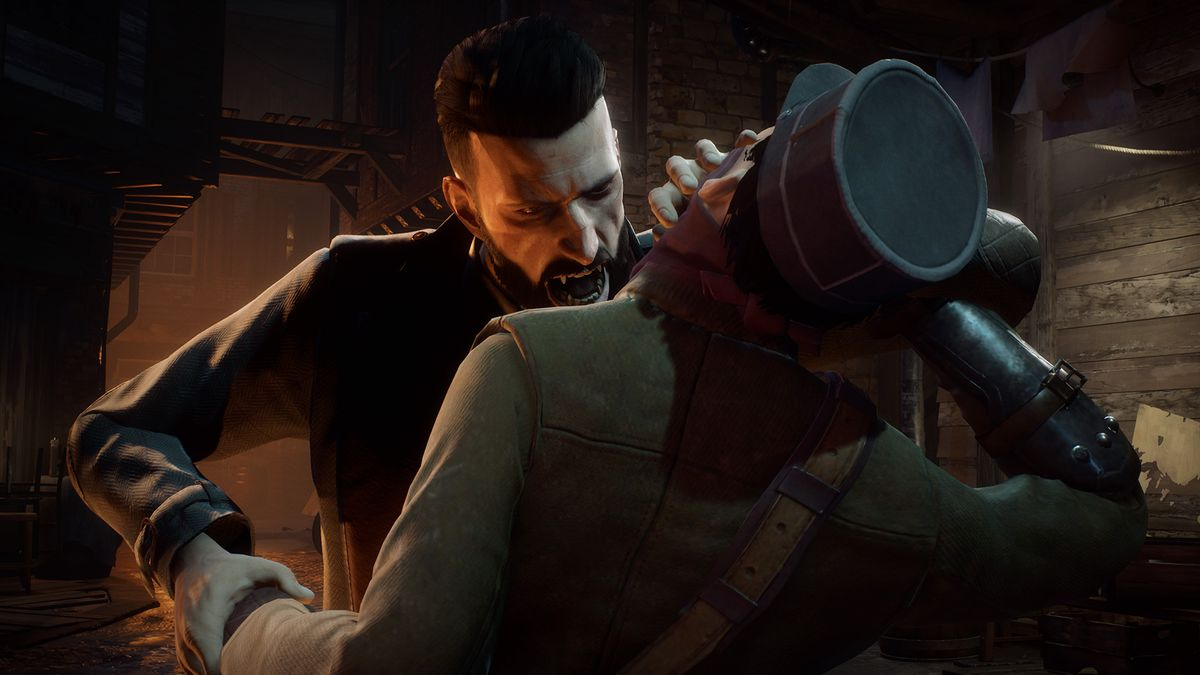 Dr. Jonathan Reid bears down to bite the neck of his victim in a screenshots of Vampyr.