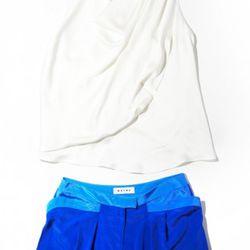 Racer-back draped top, $320<br />Pocket shorts, $265