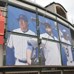 Player (and manager!) banners on the south side of the marquee -
