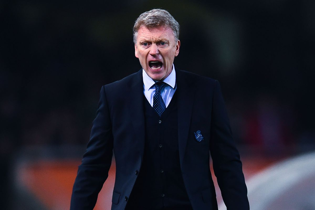 David Moyes, banished to the stands today.