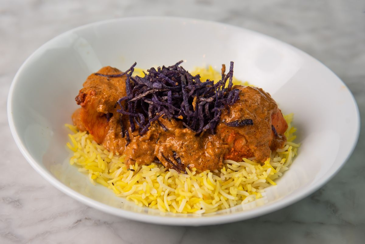 chicken makhani with saffron rice from Bindaas