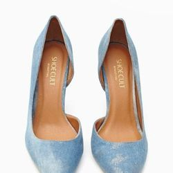 """<a href=""""http://www.nastygal.com/product/luxe-pump-denim/_/searchString/shoe%20cult"""">Luxe Pump</a>, $98"""