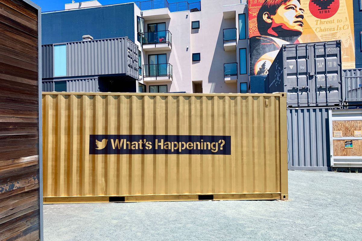 A gold-painted shipping container in Hayes Valley.