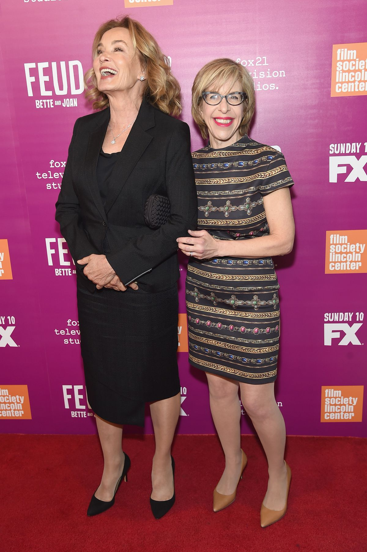 """Jessica Lange, who plays Joan Crawford on """"Feud,"""" attends a New York screening of the series with Jackie Hoffman in April 2017. 