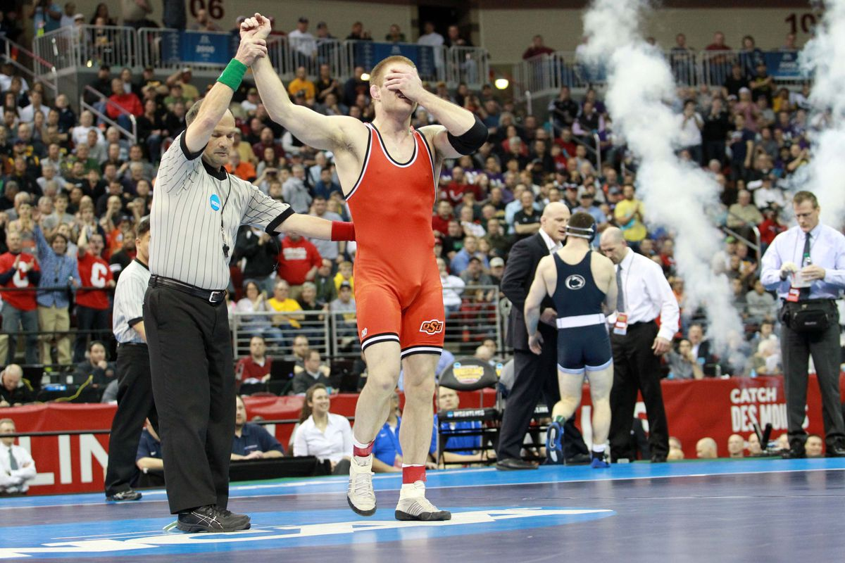 Chris Perry celebrates after winning his first national title last year.