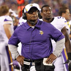 Aug 16, 2013; Orchard Park, NY, USA; Minnesota Vikings assistant head coach Mike Singletary on the sideline during the second half against the Buffalo Bills at Ralph Wilson Stadium.Bills beat the Vikings 20-16.