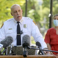 Salt Lake City Police Chief Mike Brown speaks during a press conference about updates to the city's police policies — including de-escalation efforts, use of force, body cameras and consent to search — during a press conference outside of the City-County Building in Salt Lake City on Monday, Aug. 3, 2020.