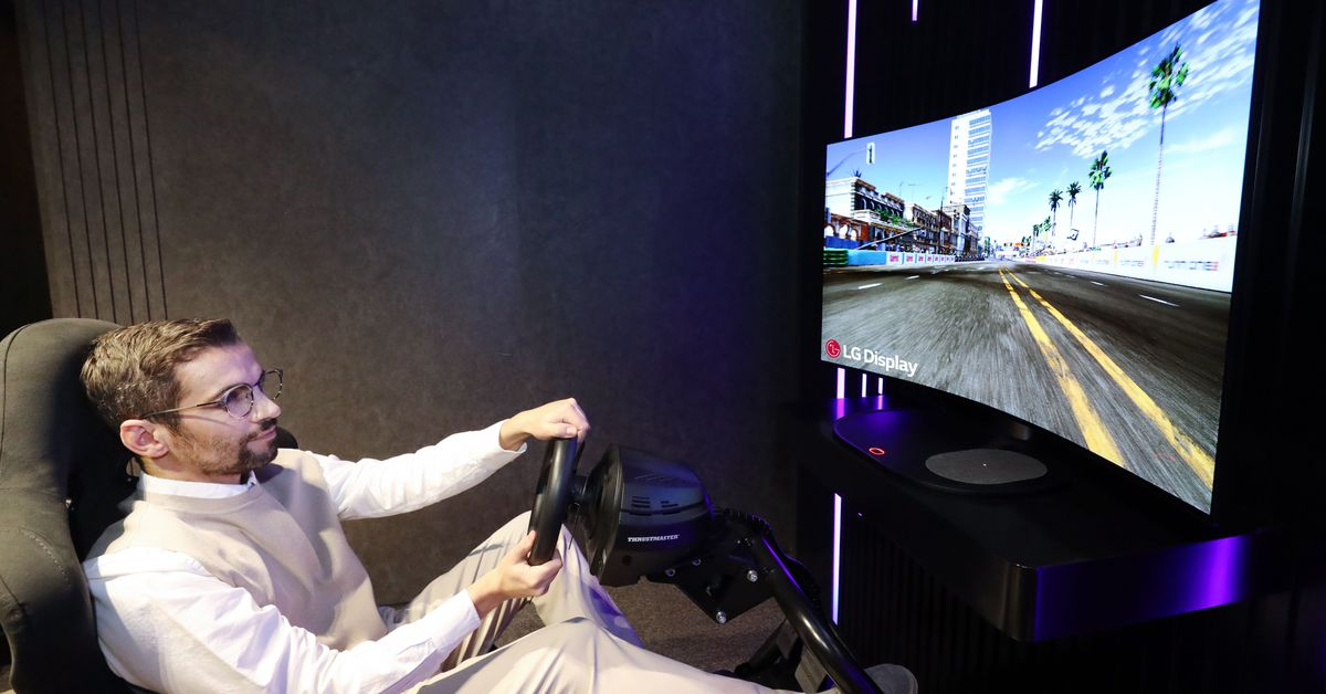This LG display transforms from flat to curved for immersive gaming